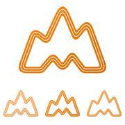 Orange landscape, adventure logo design set - stock illustration