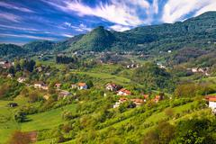 Pictoresque landscape of Samobor hills Stock Photos