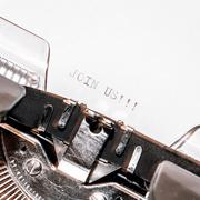 Old typewriter with text join us Stock Photos