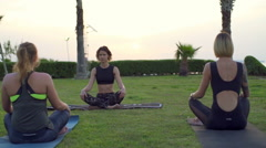 Three women doing breathing practice on the grass slow motion Stock Footage