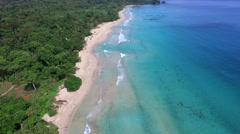 Drone Shot Of a Beautiful Caribbean Beach ( Awesome View of the Ocean ) Stock Footage