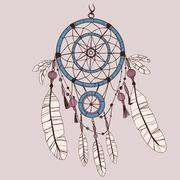Dreamcatcher, feathers and beads. - stock illustration
