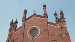 Franciscan Sanctuary tilt shot in Mortara, Pv, Italy Stock Footage