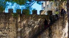 Sao Jorge Castle in Lisbon, Portugal Stock Footage