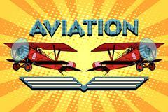 Retro two-winged plane aviation poster - stock illustration