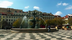 Rossio Square in city of Lisbon, in Portugal Stock Footage
