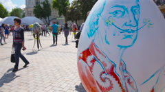 Large Painted Egg on the Square Stock Footage