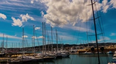 Parking sailing ships in Marina Palma, Majorca Stock Footage