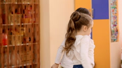 Little cute girl on a dancing lesson in kindergarten. Slow motion Stock Footage