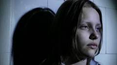 Teen girl. Drug addiction. Depressed face of a teen girl with overdose or - stock footage