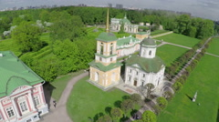 Scenic aerial view of Tsaritsyno Park, Moscow Stock Footage