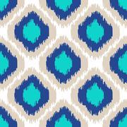 Ikat geometric seamless pattern. Turquoise collection - stock illustration