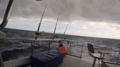 The Boat For Sea Fishing Before the Storm Stock Footage
