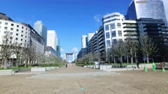 View of La Defense Business district in Paris, France Stock Footage