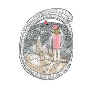 Summer shell, sea and girl - stock illustration