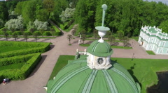 Flying over the ancient building in Tsaritsyno, Moscow Stock Footage