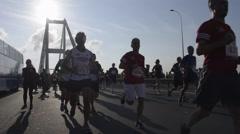 Time lapse of Istanbul Marathon, Bosporus Bridge Stock Footage