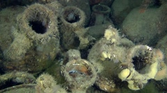 Ancient Greek amphorae on the seabed. - stock footage
