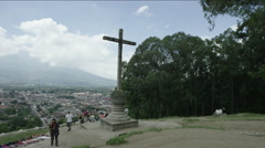 Group of tourist walking near the crucifix at Guatemala - stock footage