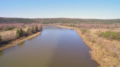 River has two colors. Aerial video. spring sunny day Stock Footage