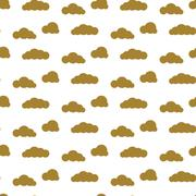 Golden clouds vector seamless pattern. Dense sky print for textile - stock illustration