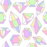 Diamond gem shape seamless pattern - stock illustration