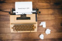 Composite image of seeking a job message on a white background - stock photo