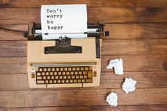 Composite image of Don't worry be happy message on a white background - stock photo