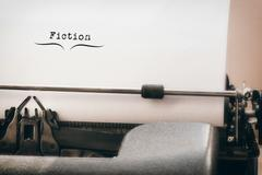 Composite image of fiction message on a white background Stock Photos