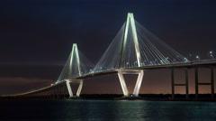 4K Charleston Arthur Ravenel Bridge Night Timelapse Stock Footage