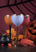 Happy Halloween ghoulish party cocktail drinks - stock photo