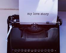 Composite image of my love story message on a white background Stock Photos