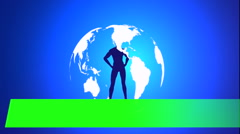 Green screen text banner lower thirds on rotating earth background Stock Footage