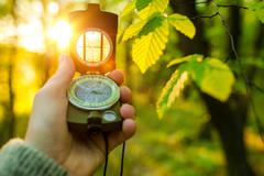 Hiking Adventure with Compact Compass. Looking For the Right Way To Go. - stock photo