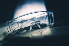 Laboratory Safety Plastic Glasses Closeup. Laboratory Equipment - stock photo