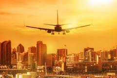 San Diego Vacation Destination. Airplane Preparing to Landing in San Diego - stock photo