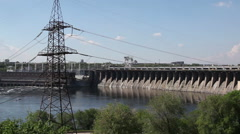 Hydroelectric dams. Zaporozhye, Ukraine. - stock footage