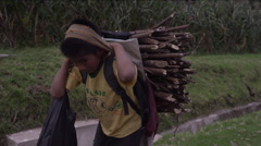 Boy carrying firewood on his back, Guatemala - stock footage