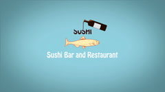 Sushi restaurant bar intro presentation, - stock footage