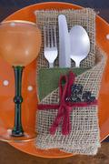 Rustic Halloween Table Place Setting. - stock photo