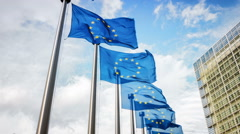 European Union flags waving in front of European Commission. Brussels, Belgium - stock footage