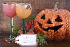 Happy Halloween table with Jack O Lantern pumpkin - stock photo