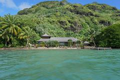Waterfront property tropical home French Polynesia Stock Photos