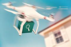 Composite image of digital image of a drone holding a cube Stock Illustration