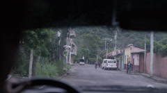 Vehicle moving on the street of Guatemala Stock Footage