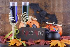 Happy Halloween Zombie Party Decorations. - stock photo