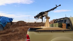 Iraq, February 2016: Machinegun in back of truck with the Kurdish Peshmerga Stock Footage