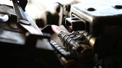 Closeup of Ammunition Rounds in Machinegun - stock footage