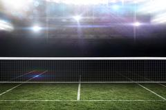 Composite image of digital image of tennis net on a white background - stock illustration