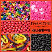 Halloween trick or treat candy collage Stock Photos